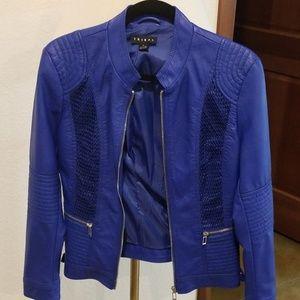 Jewel blue Tribal vegan leather jacket